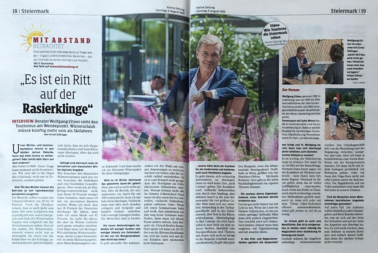 Artikel, Tourismus am Wendepunkt, Kleine Zeitung, Juli 2020