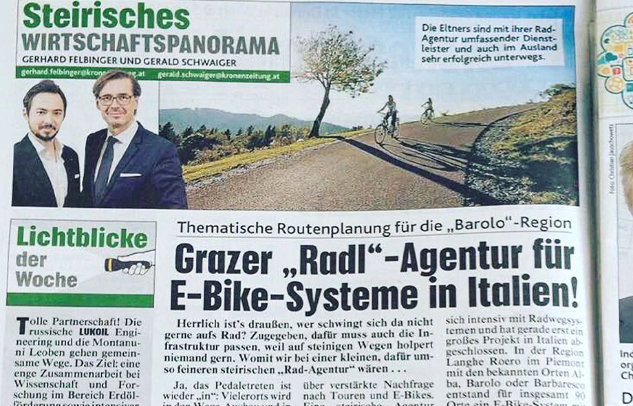 E-Bike-Systeme in Italien, Kronen Zeitung, Jänner 2017